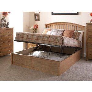 Milan Bed Company Madrid 4ft 6 Double Wooden Ottoman Bed,natural Beds