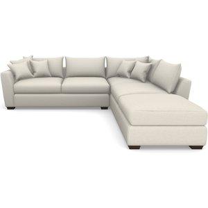Hambledon Corner Sofa Lhf Combi Unit And Stool In Easy Clean Plain- Chalk Sofas