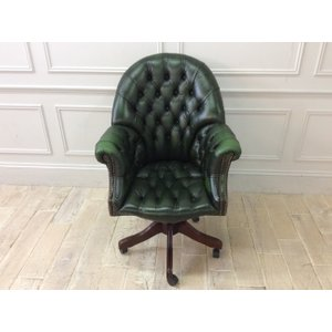 Antique Green Leather Directors Swivel Chair