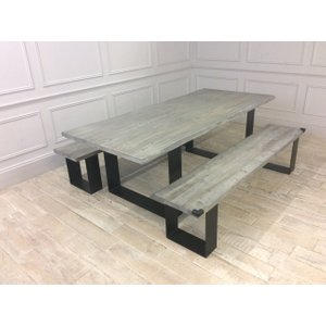 Woodstock Dining Table (220cm X 100cm) In Grey Wash Oak With 2x Accompanying Benches