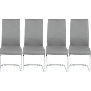 Furntastic 4 X Mercury Grey Faux Leather Swing Dining Chair Cfsud 479, Grey and Chrome