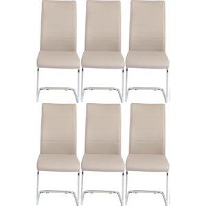 Furntastic 6 X Urban Deco Malibu Beige Faux Leather Swing Dining Chair Cfsud 483, Beige and Chrome