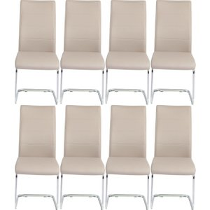 Furntastic 8 X Urban Deco Malibu Beige Faux Leather Swing Dining Chair Cfsud 484, Beige and Chrome