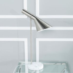 Furntastic Aisone Nickel Table Lamp - W 17cm X D 34.5cm X H 60cm Furnudgd  145, Brushed Nickel and White