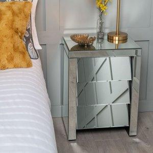 Furntastic Aledo Mirrored Bedside Cabinet Cfsud 539, Mirrored
