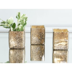 Furntastic Altus Bronze Glass Small Tealight Holder (set Of 6) - W 6cm X D 6cm X H 7cm FURNUDGD 047, Bronze