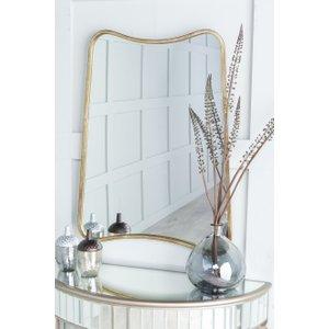 Furntastic Arnage Curved Gold Wall Mirror - W 61cm X H 81cm FURNUDGD 034, Gold