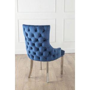 Furntastic Back Tufted Blue Velvet Fabric Dining Chair FURNUDSR 001, Ocean Blue
