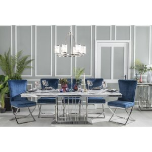 Furntastic Barner Grey Marble And Stainless Steel Chrome 220cm Dining Table With 4 Avila Tufted Back  Cfsud 624, Grey and Chrome