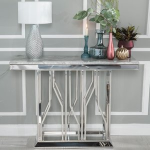 Furntastic Barner Grey Marble And Stainless Steel Chrome Console Table Cfsud 561, Grey and Chrome