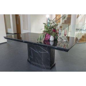 Furntastic Bern Black Marble 160cm Rectangular Dining Table Cfsud 096, Black