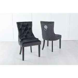 Furntastic Black Velvet Cross Stitched Lion Head Ring Back Dining Chair Cfsud 875, Black