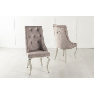 Furntastic Casey Beige Fabric Knockerback Dining Chair With Stainless Steel Chrome Legs Cfsud 639, Beige and Chrome