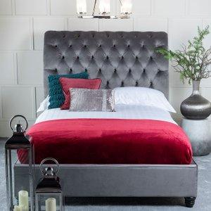 Furntastic Churchill Grey Velvet Fabric Upholstered Bed CFSUD 471, Grey