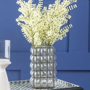 Furntastic Corbin Bubbled Glass Candle Holder - W 10cm X D 10cm X H 20cm Furnudgd 140