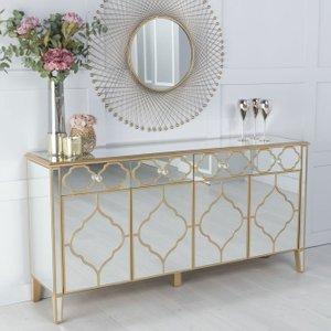 Furntastic Cressona Gold Trim Mirrored Large Sideboard Cfsud 1086, Gold Mirrored