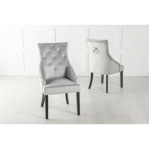 Furntastic Eclipse Light Grey Velvet Knockerback Dining Chair Cfsud 674, Light Grey