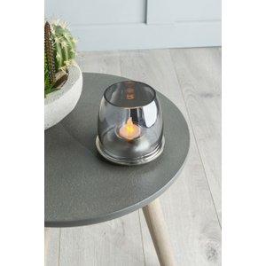 Furntastic Elida Black Lustre Glass Tealight Holder - W 11cm X D 11cm X H 10cm Furnudgd 036, Black