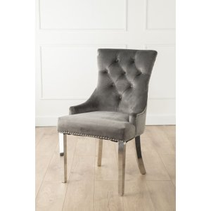 Furntastic Ellie Grey Velvet Knockerback Dining Chair With Chrome Legs CFSUD 500, Grey