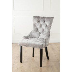 Furntastic Ellie Silver Velvet Knockerback Dining Chair CFSUD 062, Silver