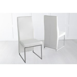 Furntastic Elrosa Cream Faux Leather Dining Chair With Brushed Metal Base Cfsud 808, Cream and Chrome