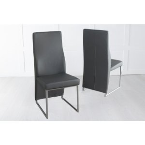 Furntastic Elrosa Dark Grey Faux Leather Dining Chair With Brushed Metal Base Cfsud 805, Grey and Chrome