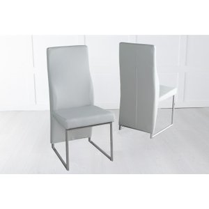 Furntastic Elrosa Light Grey Faux Leather Dining Chair With Brushed Metal Base Cfsud 807, Light Grey and Chrome