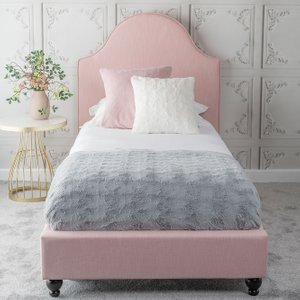 Furntastic Emily Pink Fabric Upholstered 3ft Single Bed Cfsud 467, Powder Pink