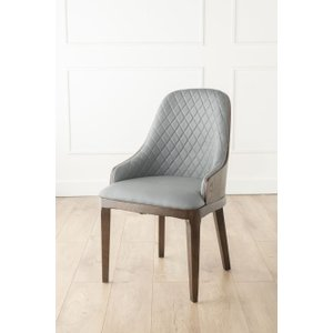 Furntastic Freya Grey Faux Leather Scoop Back Dining Chair CFSUD 089, Grey