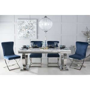 Furntastic Gallina 200cm Grey Marble And Chrome Dining Table With 6 Avila Blue Chairs Cfsud 1021, Grey and Chrome