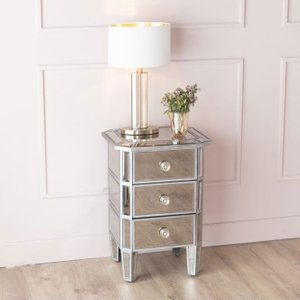Furntastic Gilby Aged Mirrored Bedside Cabinet Cfsud 1060, Aged Mirrored
