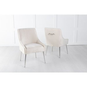 Furntastic Gordon Champagne Velvet Back Handle Dining Chair With Chrome Legs Cfsud 828, Champagne