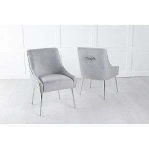 Furntastic Gordon Light Grey Velvet Back Handle Dining Chair With Chrome Legs Cfsud 827, Light Grey