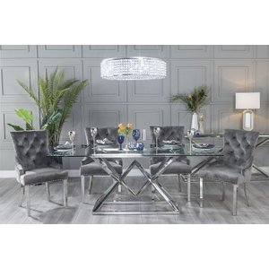 Furntastic Helm Glass And Stainless Steel Chrome 200cm Dining Table With 4 Ellie Grey Velvet Knockerb Cfsud 631, Clear Glass and Chrome