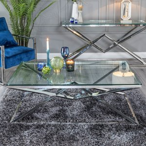 Furntastic Helm Glass And Stainless Steel Chrome Coffee Table Cfsud 598, Clear Glass and Chrome