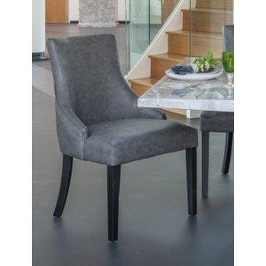 Furntastic Knightsbridge Grey Faux Leather Scoop Back Dining Chair CFSUD 063, Grey