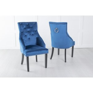 Furntastic Large Blue Velvet Knockerback Ring Dining Chair Cfsud 861, Blue