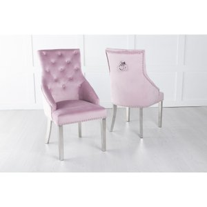 Furntastic Large Pink Velvet Knockerback Ring Dining Chair With Chrome Legs Cfsud 859, Pink