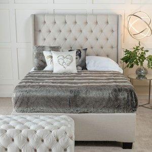 Furntastic Laurent Cream Fabric Upholstered Ottoman Storage Bed CFSUD 459, Oatmeal