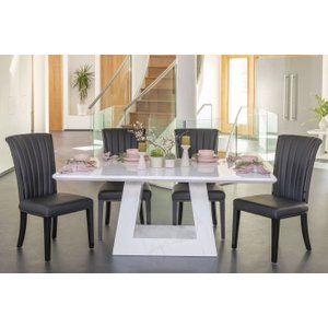 Furntastic London 180cm White Marble Dining Table With 4 Nova Black Gloss Slatted Back Chairs And Get Cfsud 137, White