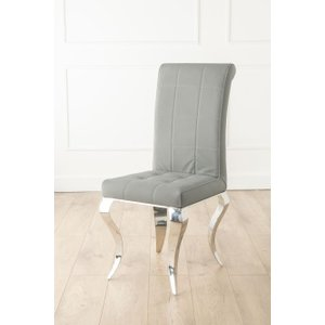 Furntastic Louis Grey Roll Back Dining Chair With Crome Legs CFSUD 498, Grey