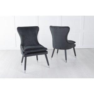 Furntastic Marion Black Velvet Padded Dining Chair With Black Legs Cfsud 824, Black
