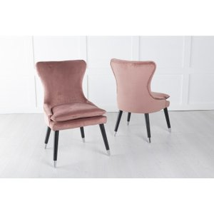 Furntastic Marion Pink Velvet Padded Dining Chair With Black Legs Cfsud 820, Pink