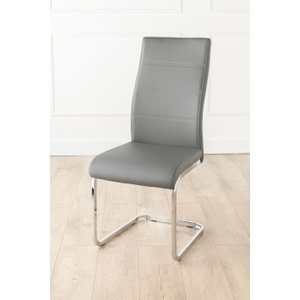 Furntastic Mercury Grey Faux Leather Swing Dining Chair CFSUD 425, Grey and Chrome
