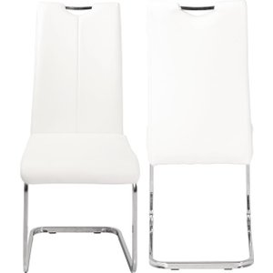 Furntastic Milo Cream Faux Leather Cantilver Dining Chair Cfsud 717, Cream and Chrome