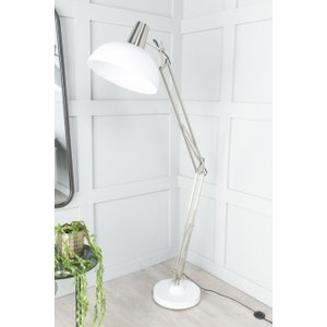Furntastic Mirage Industrial Style Nickel And White Floor Lamp With Adjustable Frame And Cone - W 32cm X D 82cm FURNUDGD 020, Nickle and White
