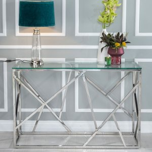 Furntastic Moneen Glass And Stainless Steel Chrome Console Table Cfsud 592, Clear Glass and Silver