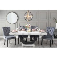 Furntastic Monterey 200cm White Marble Dining Table With 6 Grey Knockerback Chairs Cfsud 1013, White and Black High Gloss