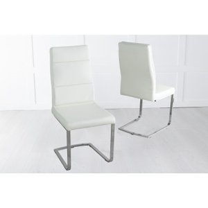 Furntastic Morocco Cream Faux Leather Dining Chair With Brushed Metal Base Cfsud 812, Cream and Chrome