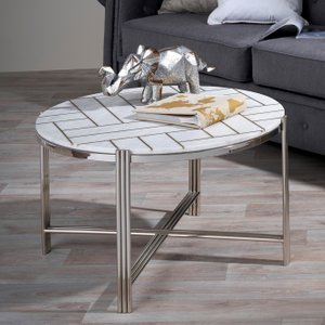 Furntastic Norman White Marble And Nickel Round Coffee Table Furnudsf 034, White and Nickel